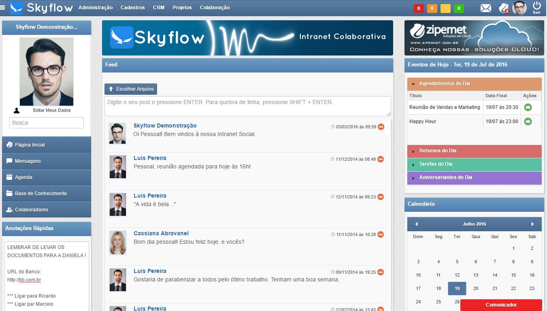 Feed - Comunicador Interno - Agenda - Intranet - Rede Social Corporativa
